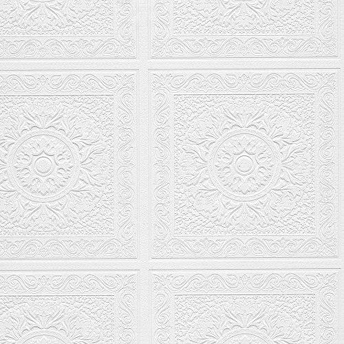 Norwall Paintable Wallpaper Renaissance Ceiling Tile Raised White Textured  48931