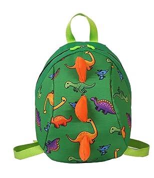 mochila de niños dinosaurio, mochila de niños Anti-lost, mochila de niño para la escuela,mochila de dibujos animados lindo para niños niños y niñas (Verde): ...