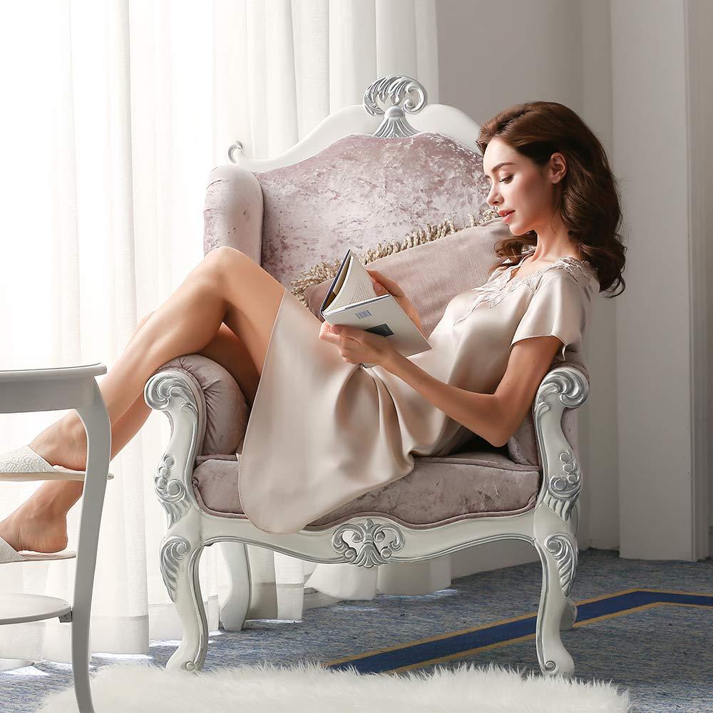 LEIQIA Donna Sottoveste Scollo V Elegante Vestaglia Corta in Seta Semplice Camicia da Notte Donna di Seta Champagne