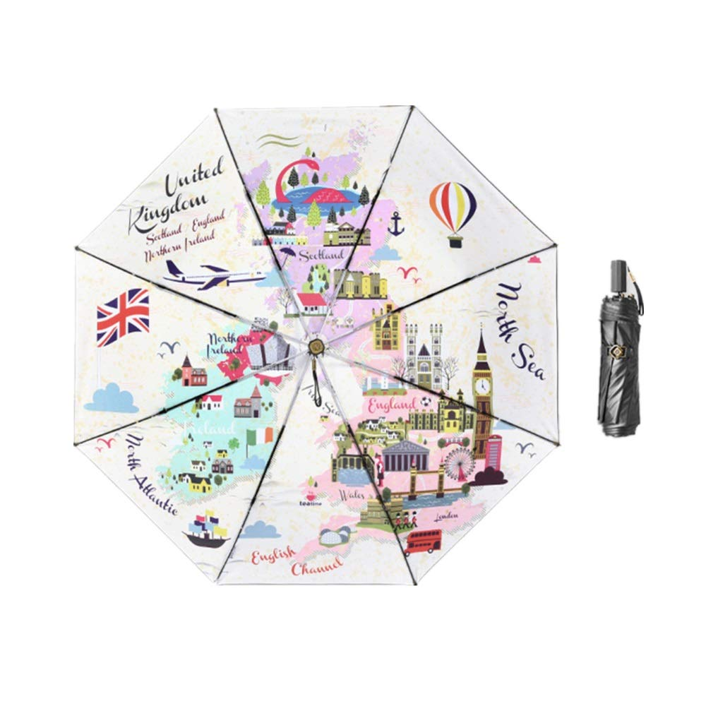 Easy Go Shopping Ombrello da Viaggio per Ombrello da Viaggio Compatto a Doppio Ombrello Ingranaggio della Pioggia (colore   Western Europe)