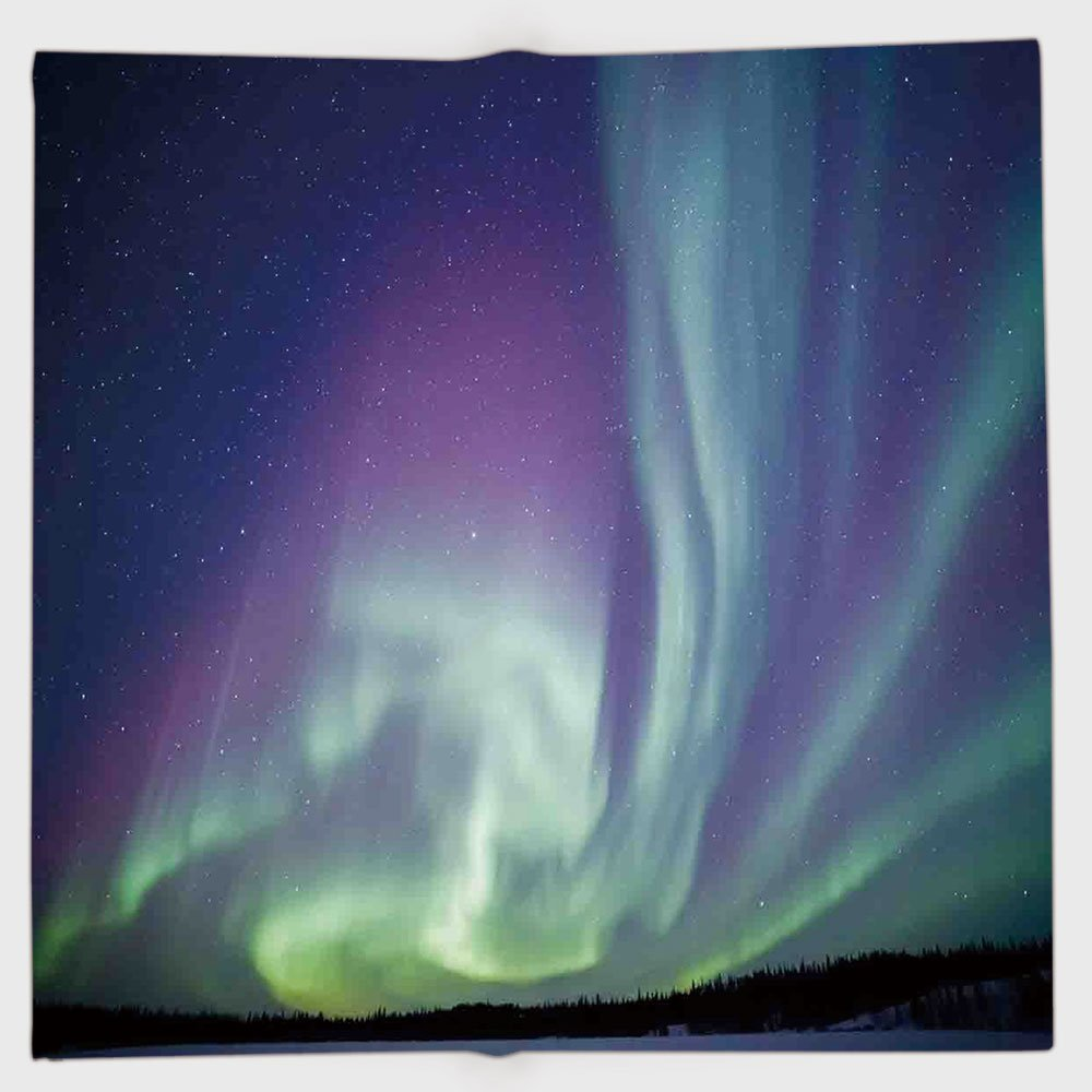 Cotton Microfiber Hand Towel,Northern Lights,Exquisite Atmosphere Solar Starry Sky Calming Night Image,Mint Green Dark Blue Violet,for Kids, Teens, and Adults,One Side Printing