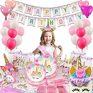 Tacobear 218pcs Licorne Anniversaire Decoration Licorne Vaisselle Licorne Nappe Licorne Assiette Licorne Ballon Sac…