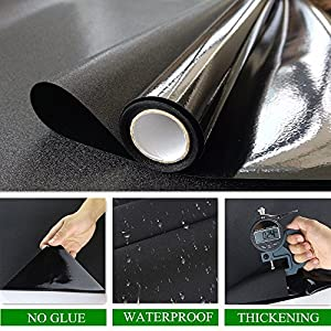 "Velimax Static Cling Blackout Window Film Privacy Window Tint Black Stickers 100% Light Blocking Room Darkening No Glue 17.7"" x 78.7""(45CM by 200CM)"