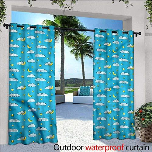 warmfamily Moon Indoor/Outdoor Single Panel Print Window Curtain Retro Style Kids Bedtime Silver Grommet Top Drape W72 x L96