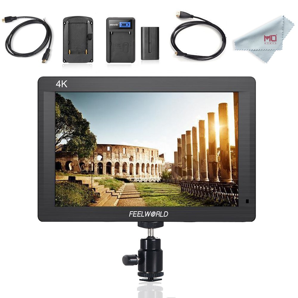Feelworld FH7 7'' Full HD Camera LCD Monitor 4K HDMI Output for Canon Nikon DSLR Camera, F550 Battery Kit Included by FEELWORLD