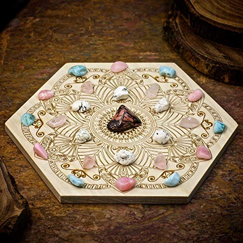Attract Your Soulmate Mini Crystal Grid Set with Rhodonite, Magnesite, Rose Quartz, Larimar, Pink Opal, and 6 inch Sacred Geometry Grid - Pink Magnesite