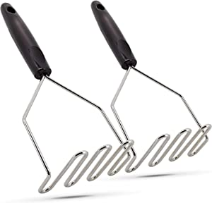 Potato Masher Stainless Steel Hand Tool and Potato Smasher Metal Wire Utensil for Best Mash for Bean Heavy Duty Potato Wire Masher with Cushioned Handle Pack of 2 - By Ram-Pro