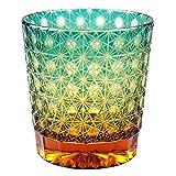 Crystal Double Old Fashioned Bar Glass 8.8oz Edo Kiriko Eternal Flower Design Cut Glass - Green x Amber [Japanese Crafts Sakura]