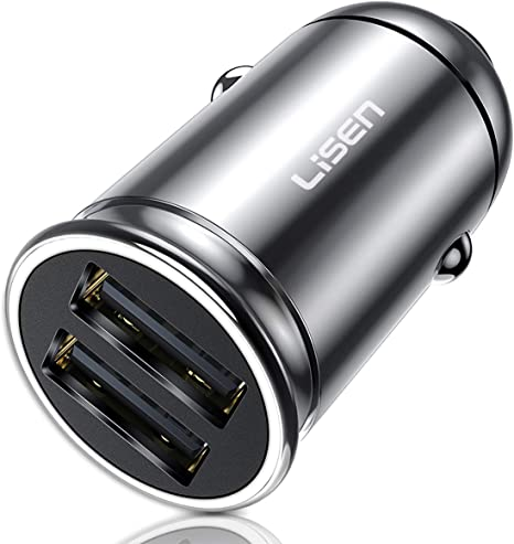 Schwarz Auto Ladeger/ät Metall Mini USB Auto Adapter 12V// 24V KFZ Ladeger/ät 2-Port 24W 5V // 4.8A mit Aluminium-Legierung Geh/äuse f/ür iPhone XR//Xs Max MEHRWEG Samsung Galaxy S8 Huawei Und mehr