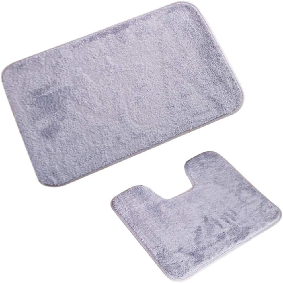 U Tappetino WC Tappeto Antiscivolo Assorbente IYOYI 2 Pezzi Tappeto da Bagno Set Lavabile in Lavatrice Grigio Argento Morbidi Tappetino Bagno in Microfibra