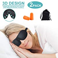 Schlafmaske, 2er-Pack Blackout Schlafen Augenmaske für besseren Schlaf, Premium Schlafbrille Bequem und Weich mit Ohrstöpsel und Tragetasche, für Damen und Herren Reisen/Nickerchen/Nacht