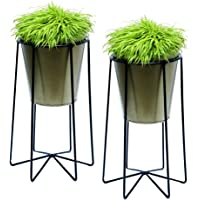 Ascent homes Metal Iron Flower Pot Stand with Metal Bucket Planter-Set of 2
