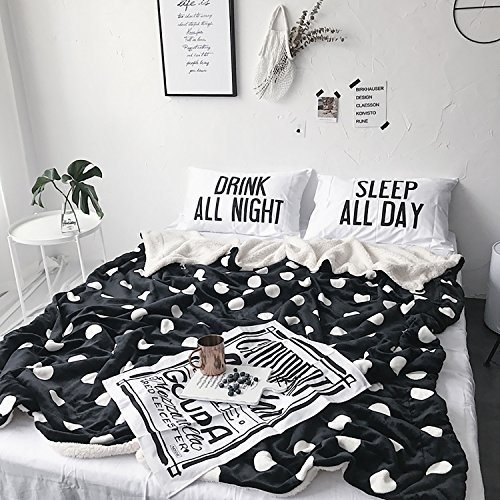 Fleece Polka Dot Blanket (Karever Bed Throw Blankets Sherpa Blanket Throws for Couch Soft Heavy Weight Warm Reversible Black with White Dots Full Size Queen Size Blanket)