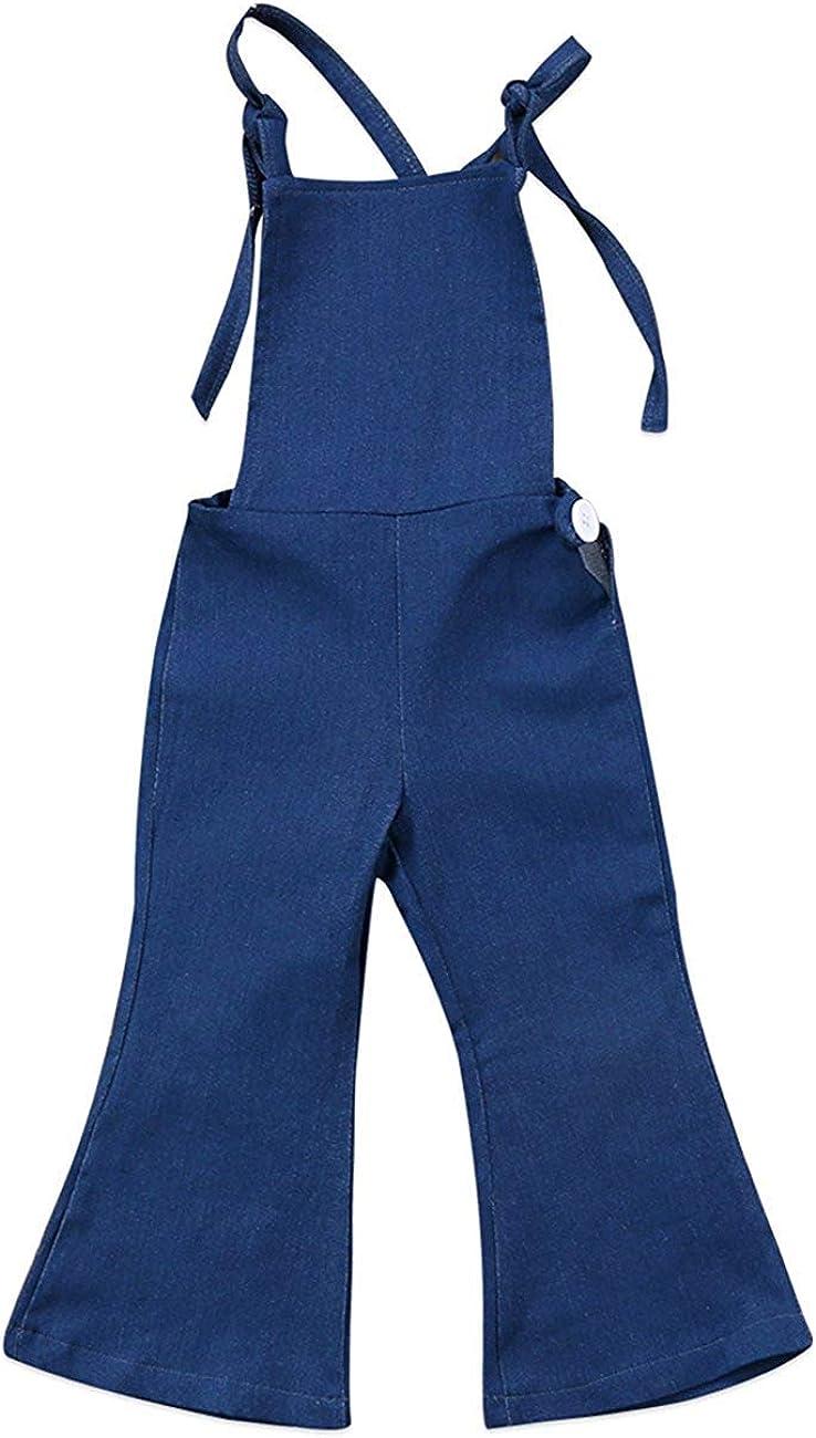 hujukuludusu Toddler Kids Baby Girl Bell-Bottom Stripes Jumpsuit Romper Overalls Pants Outfits