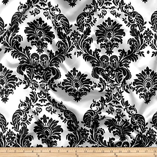 Ben Textiles Charmeuse Satin Damask Fabric, White/Black, Fabric by the - Fabric Damask