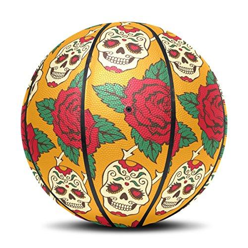 Sugar Skull Dia De Los Muertos Basketball Indoor Outdoor Sports Ball Size 7, Base included