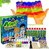 OzBSP Mega Slime Kit DIY Slime Making Supplies - for Girls, Boys, Kids | Everything to make 8 batches of Slime | Clear Glue Glitter Foam Beads Charms Activator Neon Colors | Ultimate STEM Science Kits