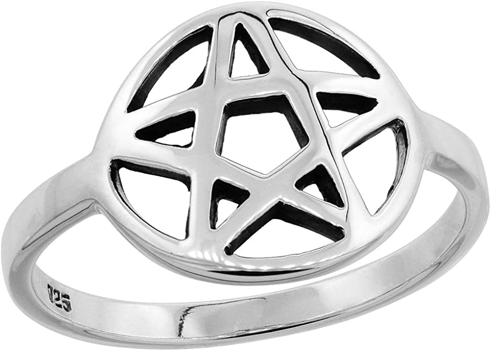925 Sterling Silver Classic Pentagram Ring Size 10