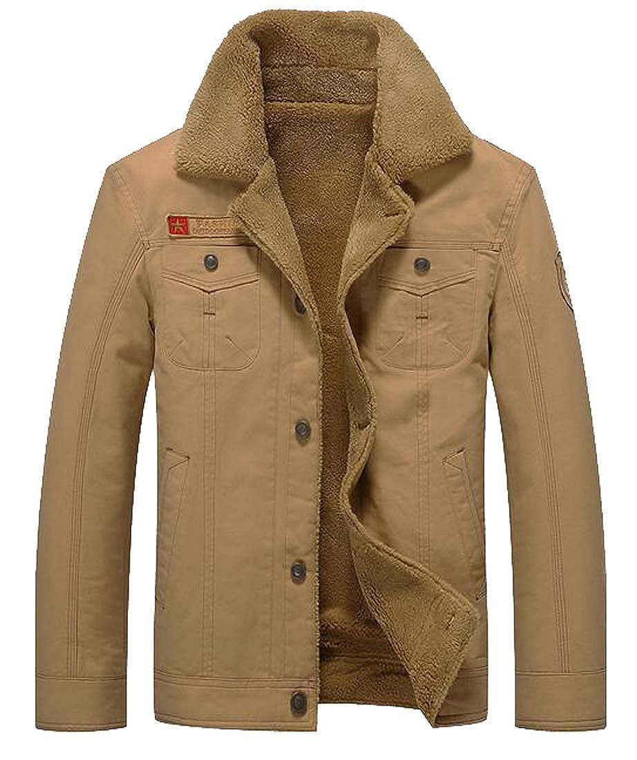 XTX Men Outdoor Lapel Fleece MA-1 Flight Bomber Cargo Quilted Jacket Parka Coat Outerwear