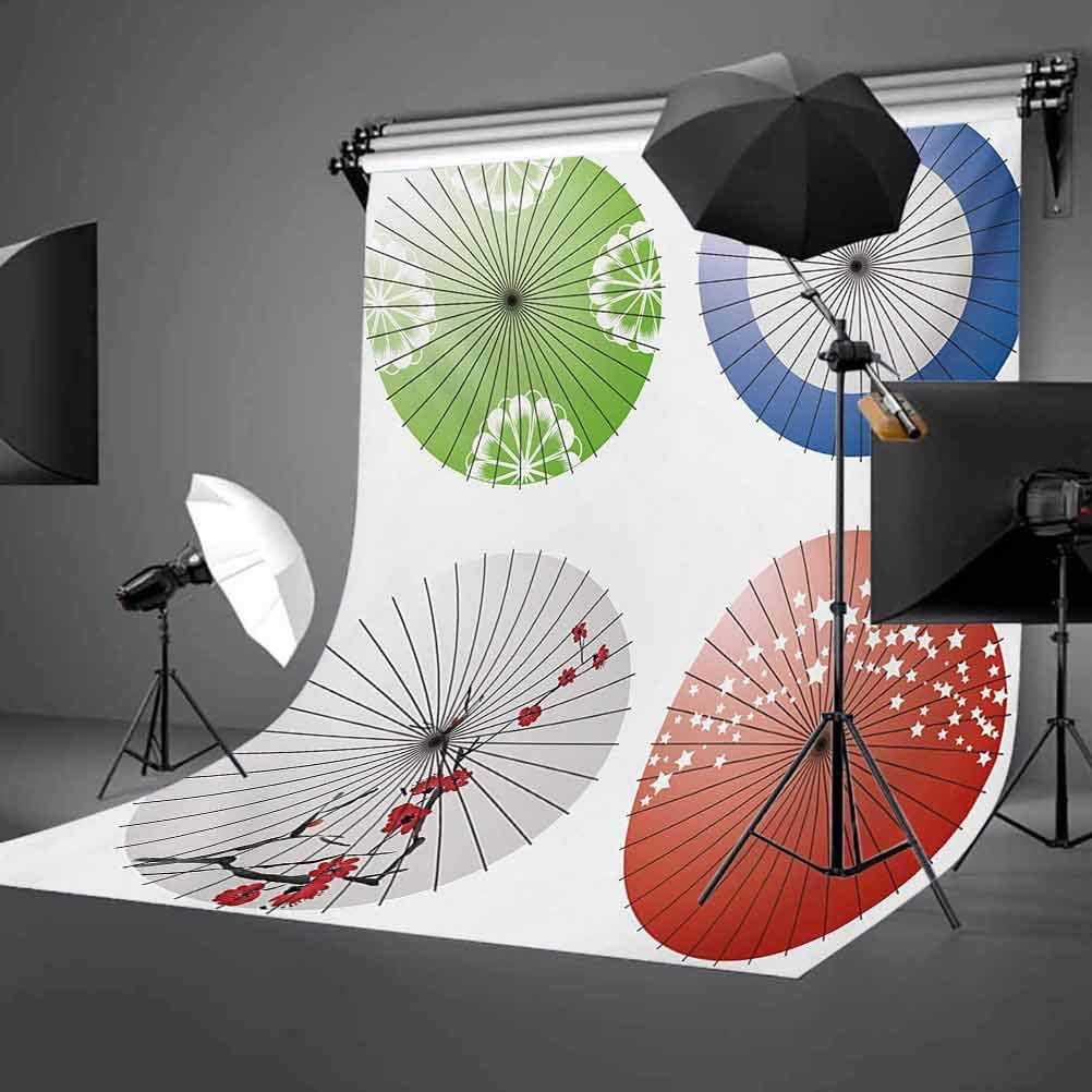 Japanese 10x12 FT Photo Backdrops,Artisan Japanese Umbrella Design with Cherry Blossom Flowers and Star Figures Background for Party Home Decor Outdoorsy Theme Vinyl Shoot Props Multicolor