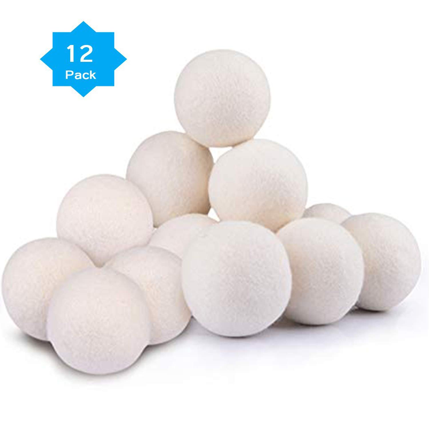 Wool Dryer Balls Organic XL 12-Pack, Premium Reusable Fabric Softener, Reduce Wrinkles Saves Drying Time, Static Cling, Hypoallergenic, Chemical Free
