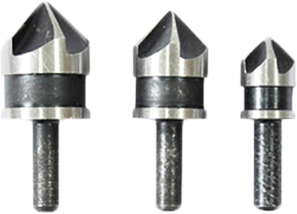 LHFSM 3pc 5 Flutes HSS Industrial Countersink Drill Bit Set 90 Degree Chamfer Deburring End Mill Cutters for Metal Woodworking Deburring Tools