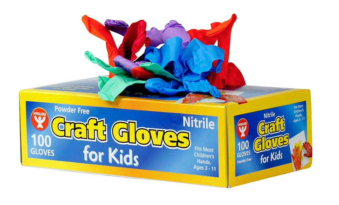 Hygloss Products 98100 Nitrile Craft Gloves Kids Size 100 Pcs