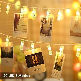 Foto Clips Lichterketten 20 LEDs B Right LED Lichterkette Warmweiß,  Lichterkette Batteriebetrieben, Lichterkette