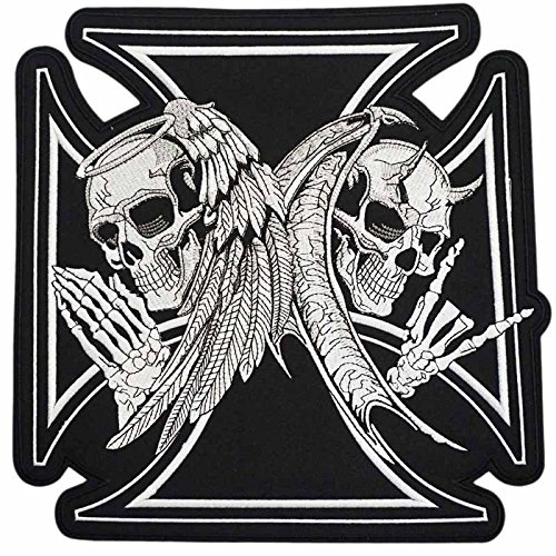 Large Size of Unique Punk Funky Over 80% Embroidered Embroidery Patches Iron Sew on Skull Bone Skeleton Head Cross Helmet for Jacket Jeans Backpack Vest Rider Trucker ()