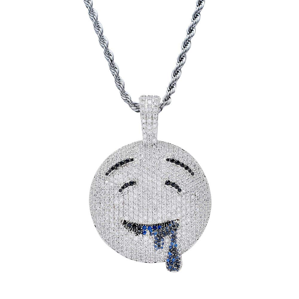 BLINGMC Hip Hop Men Jewelry Personality Drooling Expression Pendant Copper Zircon Necklace