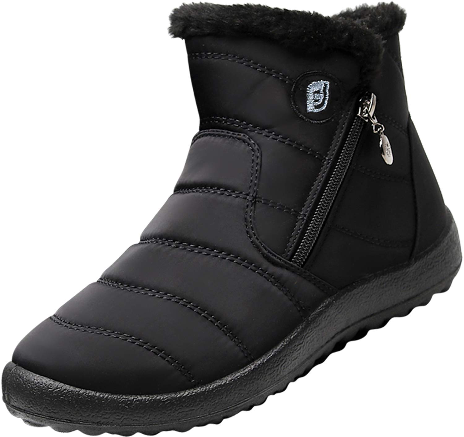 JOINFREE Womens Waterproof Snow Boots Fur Lining Slip On with Rubber Soles Middle Black 8.5 M US