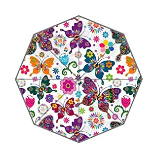 Custom Auto Foldable Umbrella with Colorful Retro Butterfly's And Flowers Pattern Background 3D Printed Design