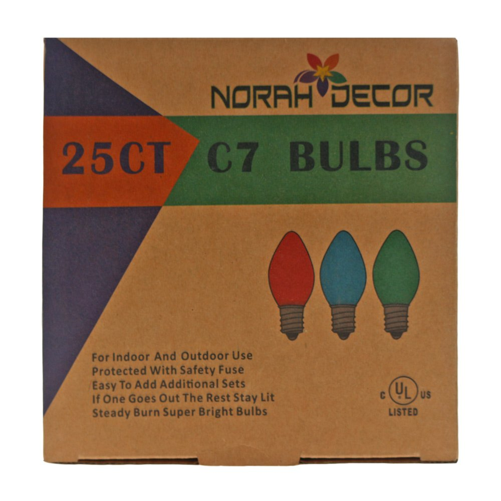 Commercial Grade,Supper Brightness LED NORAH DECOR Faceted LED C7 Yellow Christmas Replacement Night Light Bulbs 25 Pack Fits Into Candelabra E12 Base Sockets