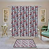 Kenneth Camilla01 Fabric Shower Curtain London,Pattern with London Symbols Queen Elizabeth Umbrella Tea Party Map Travel Theme,Multicolor,Waterproof Polyester Shower Curtain for Bathroom 47'x62'