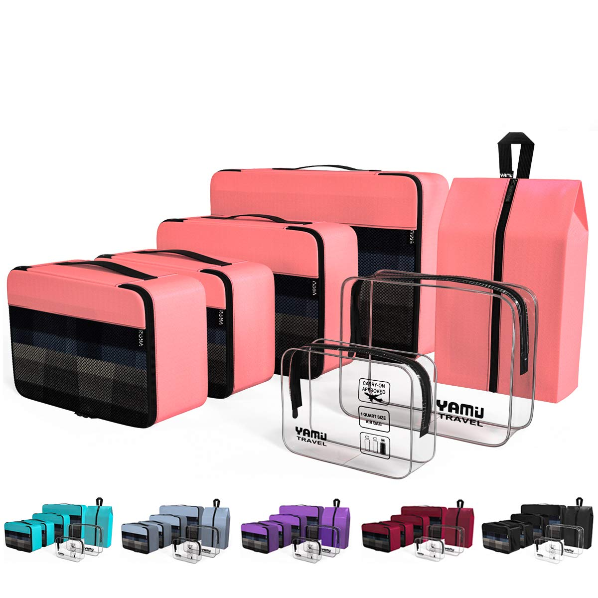 YAMIU Packing Cubes 7-Pcs Travel Organizer Accessories with Shoe Bag and 2 Toiletry Bags(Pink)