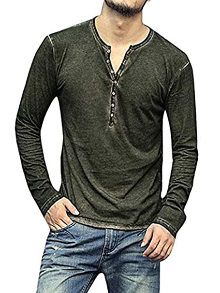 2e7aec1c0f77 LIWEIKE Mens Casual Slim Fit Basic Henley Long Sleeve T-Shirt V Neck  Buttons Muscle