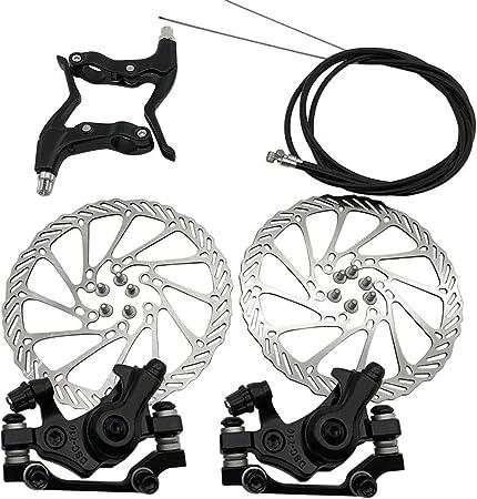 xiegons0 - Juego de frenos de disco mecánicos, freno de disco universal delantero y trasero para bicicleta, color negro, tamaño Tamaño libre, 12.60 x 3.94 x 3.15inches: Amazon.es: Hogar