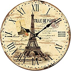 Grazing 10 Vintage Roman Numeral Eiffel Tower and Stamp Design English Country Style Wooden Decorative Round Wall Clock (Vintage Eiffel)