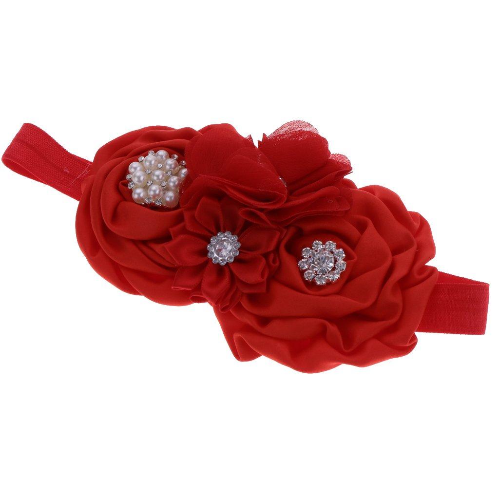 Homyl Bébé Fille Bandeau Elastique Cheveux Fleur Strass Perles Couronne Floral de Princesse