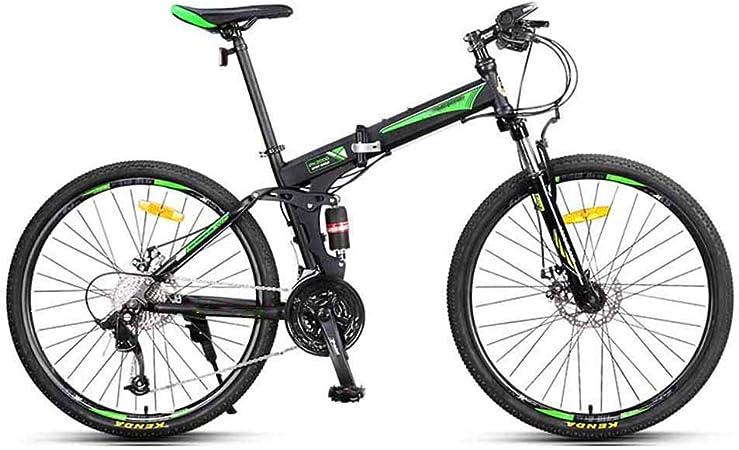 Gyj&mmm Bicicleta de montaña Plegable de 26 Pulgadas, Bicicleta de montaña de Doble amortiguación Todoterreno de 27 velocidades, Bicicleta Urbana para jóvenes Adultos,Verde: Amazon.es: Hogar