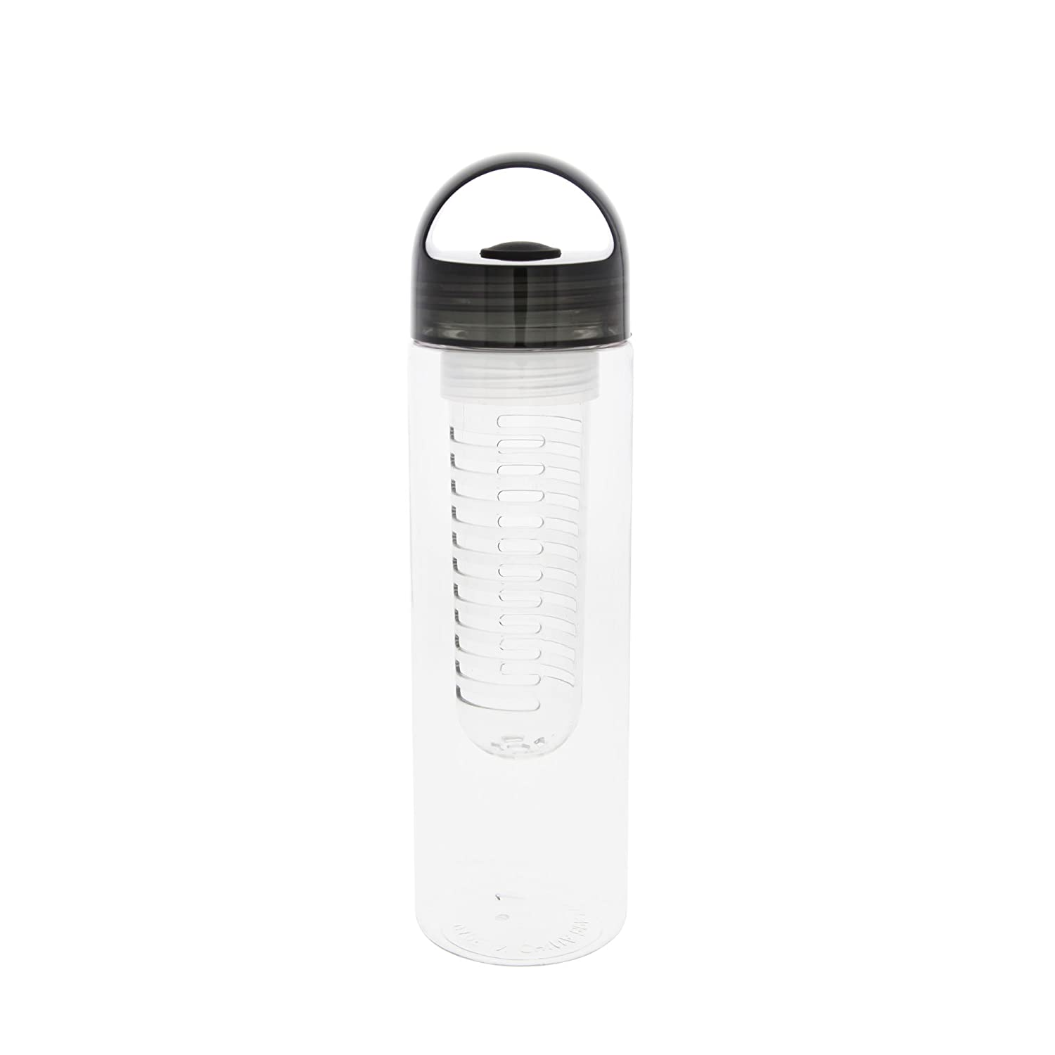 Black 23oz Fruit Infuser Water Bottle with Loop Cap BPA free