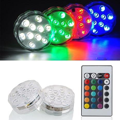 Luces Sumergibles,2PCS Piscina Luz LED Impermeable,Control Remoto Bajo El Agua Luz para