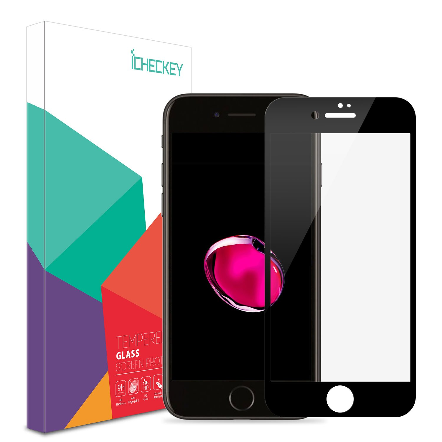 ICHECKEY iPhone 7 Screen Protector Reinforced 2.5D Full Coverage Tempered Glass Screen Cover Film - Black