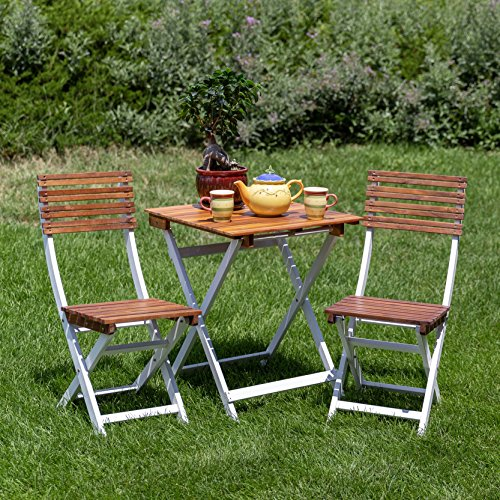 DTY Outdoor Living South Park 3-Piece Acacia Outdoor Patio Cafe Bistro Set with Square Folding Table and 2 Chairs, Natural Oil and White Finish - Summer Clearance Sale!!