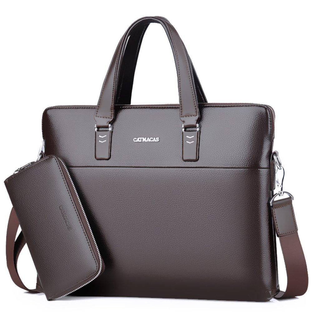 Männer Handtaschen PU Business Messenger Taschen Einhand Rucksäcke Casual Messenger Business Bags Aktentaschen Braun 7a8975