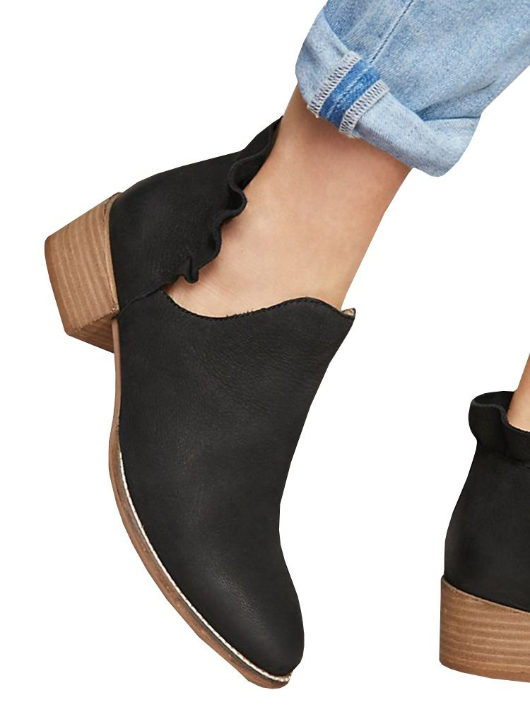 Ermonn Womens Ruffle Ankle Boots Cut Out Pointed Toe Chunky Low Heel Western Booties