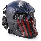 Wwman - Máscara táctica de cara completa para airsoft, paintball y juegos de guerra, diseño de calavera, equipo de protección