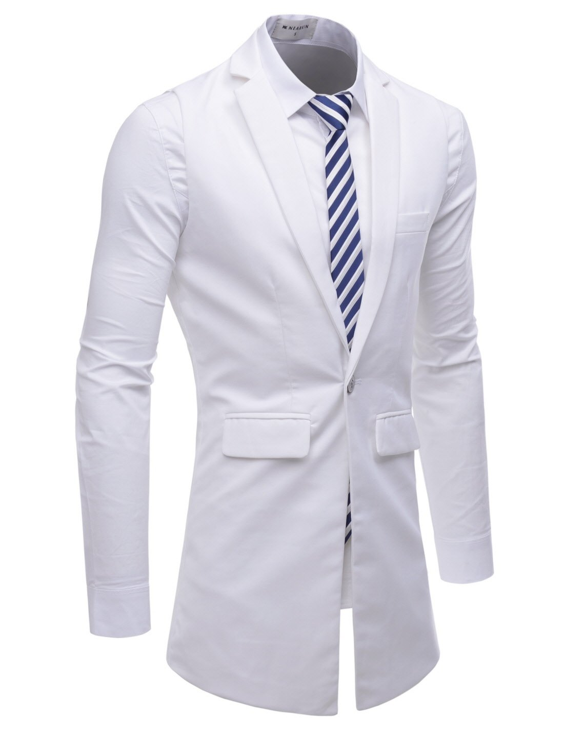 NEARKIN (NKNKLV600) Mens Notched Lapel One Button Slim Fit Long Waistcoat WHITE US XXXL(Tag size 3XL)
