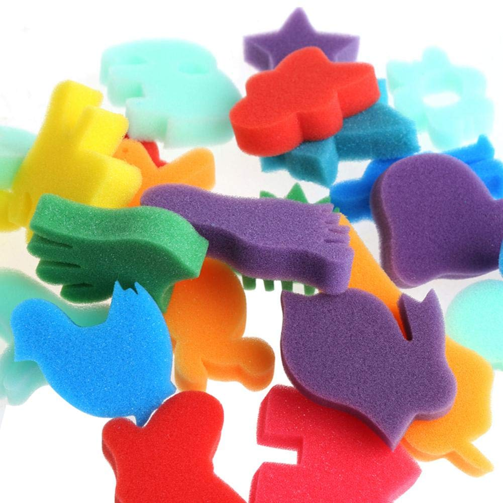 WXLAA Sponge Painting Set Children Kids Finger Paint Kit DIY Art Craft Toy School Education Learning Toy Stamps Foam Set 24Pcs by WXLAA (Image #4)