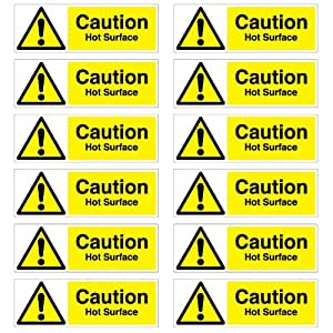 Amazon Com Caution Hot Surface Warning Stickers Pack Of 12 50mm